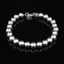 Fashion Retro Men Women 925 Silver Plated Hollow Beads Bangle Chain Bracelet 8Mm