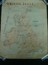 ANTIQUE HAND DRAWN MAP OF ENGLAND SCOTLAND & IRELAND SIGNED & DATED 1907
