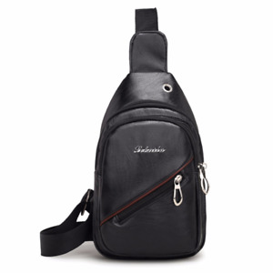 Mens PU Leather Sling Bags Chest Shoulder Crossbody Outdoor Pack Backpack Sports