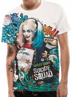 Official Harley Quinn Graffiti T-shirt Sublimation SUICIDE SQUAD Mens White