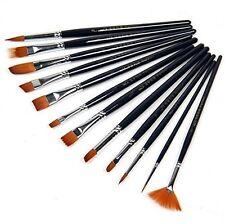 12pcs Nylon Hair Artist Paint Brush Set Watercolor Acrylic Oil Painting Supplies