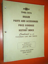 1946-1974 CHEVY DEALER CARS TRUCK PARTS AND ACCESSORIES PRICE SCHEDULE & HISTORY