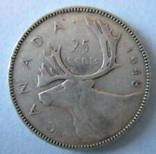 1948 CANADA 25¢ KING GEORGE VI SILVER QUARTER COIN ☆ KEY DATE ☆