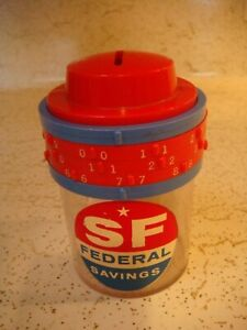 """Just over 4"""" tall plastic SF Federal Savings combination lock bank"""