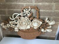 "Large Vintage 24"" HOMCO Wall Plaque Basket of Flowers 7605"