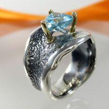 A748 Unikat Solitär Ring 925 Silber 585 Gelbgold 14K Blautopas Gr.56 Handarbeit
