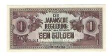 WWII DUTCH EAST INDIES 1942 JAPANESE INVASION MONEY 1 EEN GULDEN PAPER NOTE BILL
