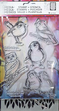 DINA WAKLEY Stamp & Stencil Set LITTLE BIRDIES Art Scrapbooking Mixed Media
