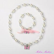 Girls Crystal & Pearl Beaded Butterfly Bracelet & Necklace Set