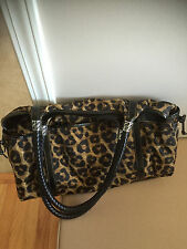 Brighton LEOPARD MICROFIBER Xtra Large Tote Luggage Lots of pockets Keyfob RARE