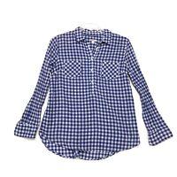 Merona Long Sleeve Popover Blouse Womens L Large Faded Blue Plaid 2 Pockets READ