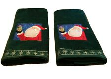 Saturday Knight Ltd. 2 Christmas Fingertip Towels Appliqued Santa Embroidered
