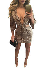 Abito aperto nudo Aderente Scollo Stampato Nodo Party Ballo Cutout Snake Dress L