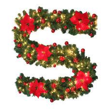 9ft Christmas Garland w/ 40 Light Decorations Xmas Pre-Lit Fireplace Pine Ribbon