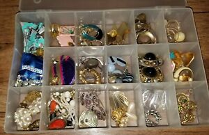 Costume Jewlery Lot 37 Pairs Earrings In Box some Vintage