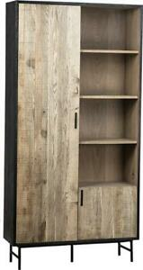 HAGEN STORAGE CABINET BLACK SEALED STAIN NATURAL BROWN STAINED WHITE METAL O