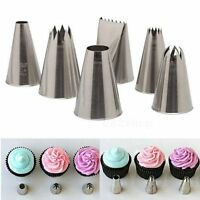 6x Icing Piping Nozzles Tips Tool Set For Cake Puff Decorating Sugarcraft New