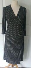 Laura Ashley Brown & Green Spot Wrap Dress size 14❤❤❤
