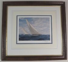 FRAMED SIGNED LTD ED STEVEN DEWS SAILING PRINT - 'ENDEAVOUR AND RAINBOW RACING'