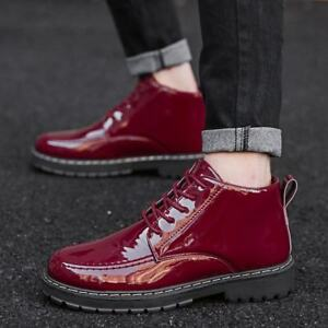 Mens Lace Up Cuban Heels Patent Leather Dress Formal Casual Comfort Biker Shoes