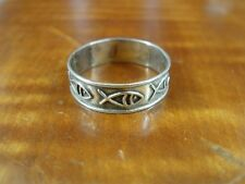 Silver 925 Ring Size 6 1/2 Fish Symbol Raised Line Mexico Band Sterling