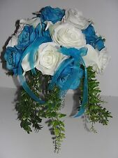 Malibu Blue White Beach Wedding Flowers Bride Bouquet Altar Cascading Reception