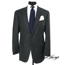 #1 MENSWEAR Ermenegildo Zegna Black Label Milano Charcoal Chalk Stripe Suit 58