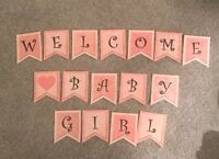Baby Shower Welcome Baby Girl Bunting/banner decoration
