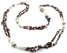Long Necklace natural almandine red garnet gemstone beaded handmade 90 grams