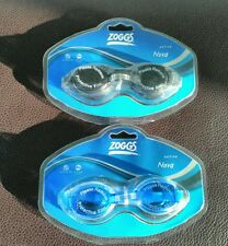 2 x Zoggs Active Nova Swimming Goggles Adults Blue & Black New & Sealed