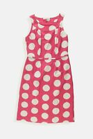 Boden pink white spotted SILK blend pencil dress Size 8 R Womens