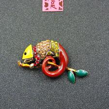 Betsey Johnson Cute Shiny Crystal Chameleon Rhinestone Woman Brooch Pin