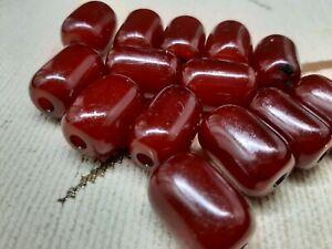 Amber Cherry Bakelite Beads 63 grams