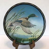 Vintage 1960s Mallard Duck Serving Tray Decorative Wildlife Barware James Artig