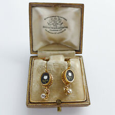 18ct Gold Diamond Earrings Love Message White Tulips Mosaic Unusual C.1870 Boxed
