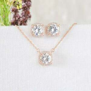 Jewelry Set 5Ct Round White Diamond Halo Earring and Pendant 18k Rose Gold Over