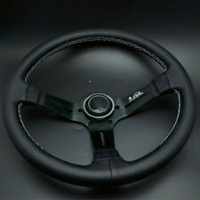 14'' Leather Steering Wheel Mid Deep Dish OMP Racing Drifting White Stitch Handy