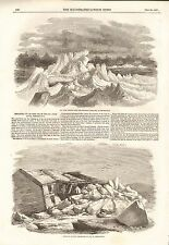 1857 ANTIQUE PRINT-BREAK UP OF ICE IN THE ST JOHN RIVER AT FREDERICTON, 2 PAGES