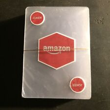 AMAZON All Plastic Playing Deck of Cards Prime Blue Clear NEW