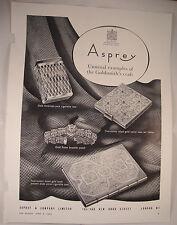 1953 Vintage ASPREY Magazine Advert Gold Smoking Accessories ROLEX Bracelet