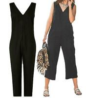 NEXT Black Linen Blend Wide Leg Cropped Summer Sleeveless Jumpsuit 6-18 R/P/T
