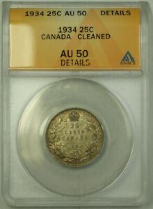 1934 Canada Quarter 25 Cents Silver Coin ANACS AU-50 Details