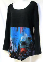 TS Top TAKING SHAPE plus sz XS (14) 'City Scape' soft draping funky tunic NWT!