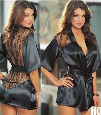 HO AU Sexy Lingerie Satin Lace Black Kimono Intimate Sleepwear Robe Night Gown