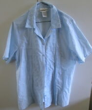 Ladies Millers Size16 Light Blue Shirt Cotton Short Sleeve Button Front
