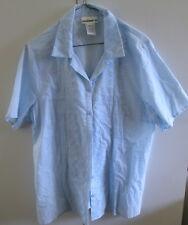 Ladies Millers Size16 Light Blue Shirt Cotton Short Sleeve Button Front