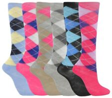 6 Pairs Ladies Argyle Diamond Check Knee High Long Socks Horse Riding Golf Sport