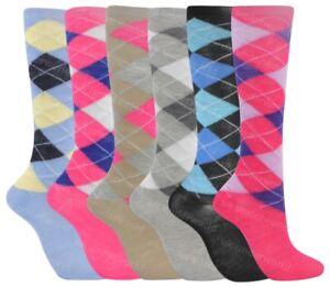 6 Pairs Ladies Argyle Diamond Check Knee High Long Socks Horse Riding Golf Sport