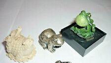 Lot of 3 Frog Figurines Pewter Cast Iron Resin