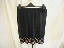 Designer Ladies Skirt Missoni UK 8, EUR 40, black crochet chevrons, lined 1993